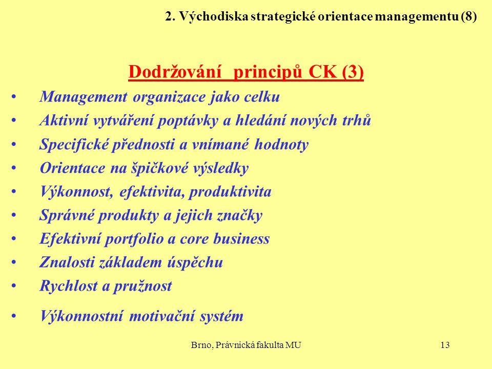 Brno, Právnická fakulta MU13 2. Východiska strategické orientace managementu (8) Dodržování principů CK (3) Management organizace jako celku Aktivní v