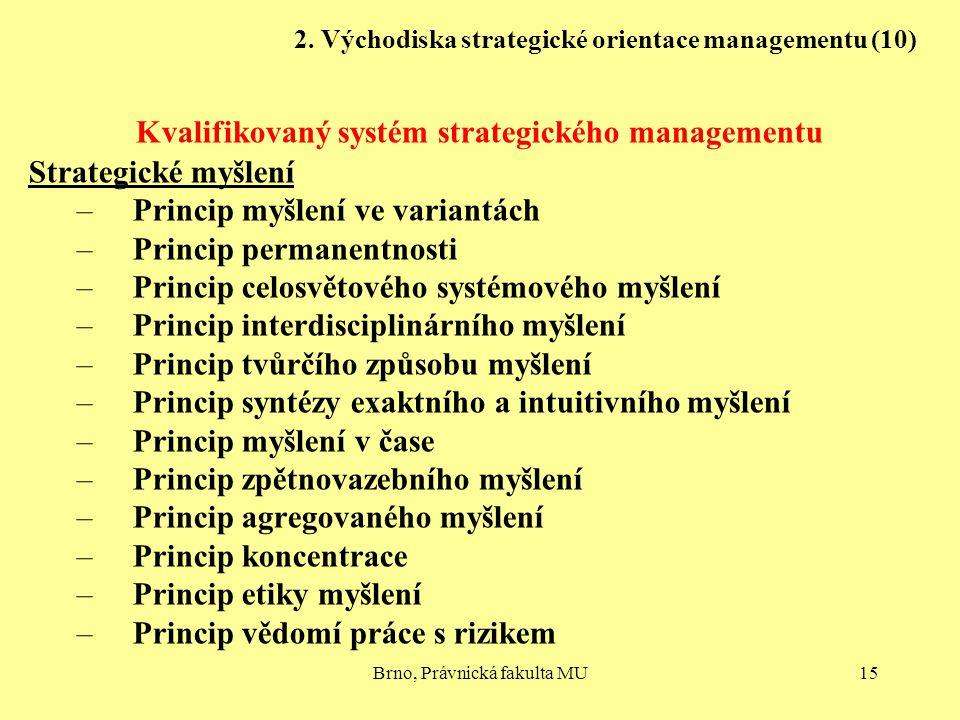 Brno, Právnická fakulta MU15 2. Východiska strategické orientace managementu (10) Kvalifikovaný systém strategického managementu Strategické myšlení –