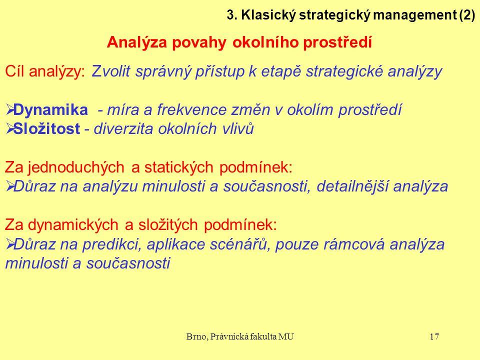 Brno, Právnická fakulta MU17 3. Klasický strategický management (2) Analýza povahy okolního prostředí Cíl analýzy: Zvolit správný přístup k etapě stra