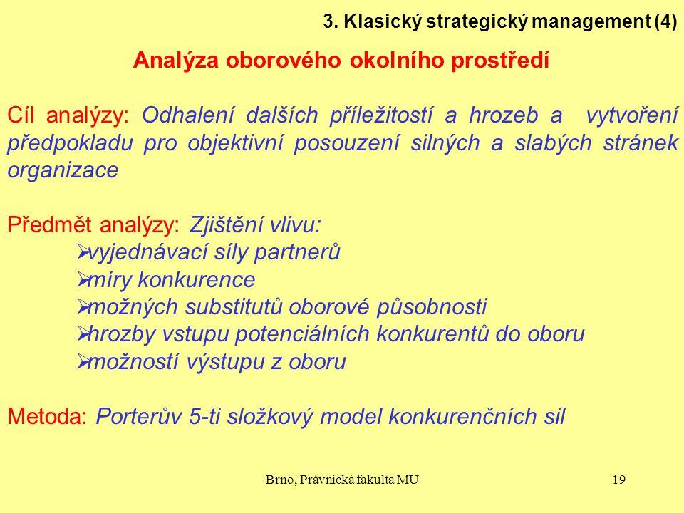 Brno, Právnická fakulta MU19 3. Klasický strategický management (4) Analýza oborového okolního prostředí Cíl analýzy: Odhalení dalších příležitostí a