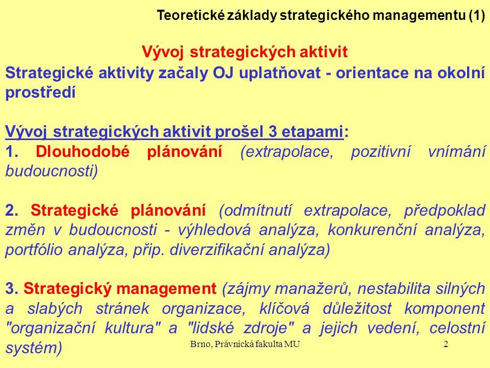 Brno, Právnická fakulta MU2 Teoretické základy strategického managementu (1) Vývoj strategických aktivit Strategické aktivity začaly OJ uplatňovat - o