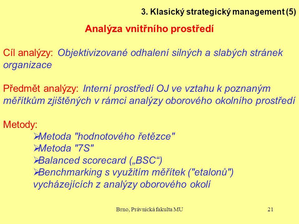Brno, Právnická fakulta MU21 3. Klasický strategický management (5) Analýza vnitřního prostředí Cíl analýzy: Objektivizované odhalení silných a slabýc