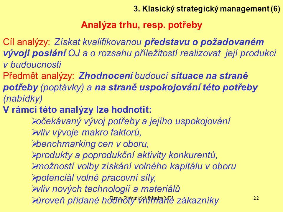 Brno, Právnická fakulta MU22 3. Klasický strategický management (6) Analýza trhu, resp. potřeby Cíl analýzy: Získat kvalifikovanou představu o požadov