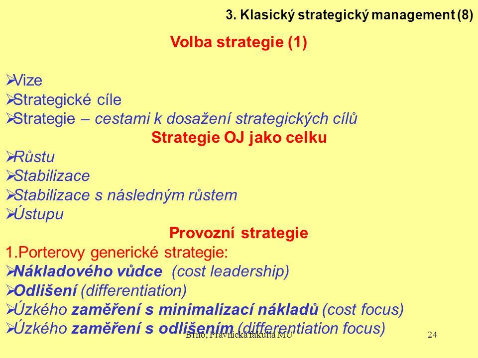 Brno, Právnická fakulta MU24 3. Klasický strategický management (8) Volba strategie (1)  Vize  Strategické cíle  Strategie – cestami k dosažení str