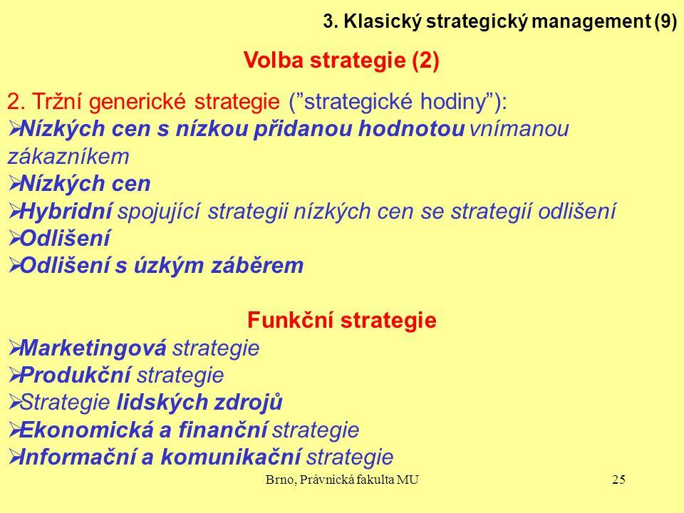 "Brno, Právnická fakulta MU25 3. Klasický strategický management (9) Volba strategie (2) 2. Tržní generické strategie (""strategické hodiny""):  Nízkých"