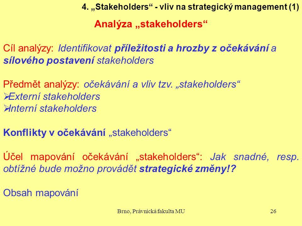 """Brno, Právnická fakulta MU26 4. """"Stakeholders"""" - vliv na strategický management (1) Analýza """"stakeholders"""" Cíl analýzy: Identifikovat příležitosti a h"""