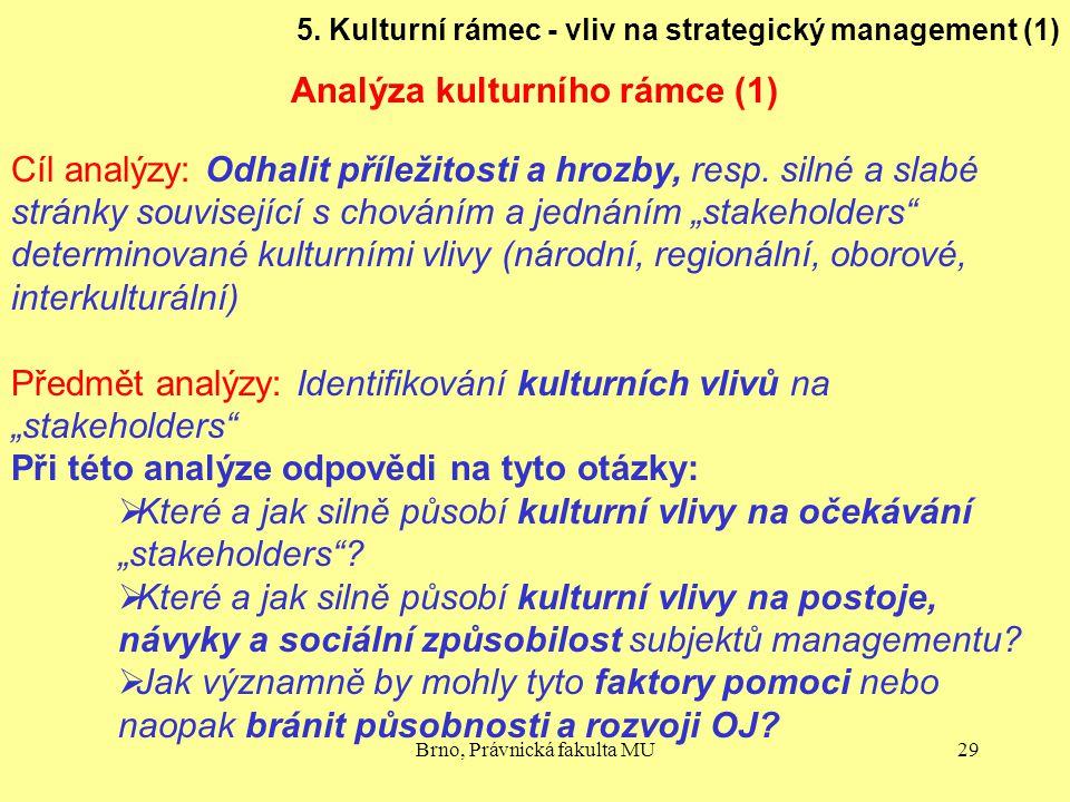 Brno, Právnická fakulta MU29 5. Kulturní rámec - vliv na strategický management (1) Analýza kulturního rámce (1) Cíl analýzy: Odhalit příležitosti a h