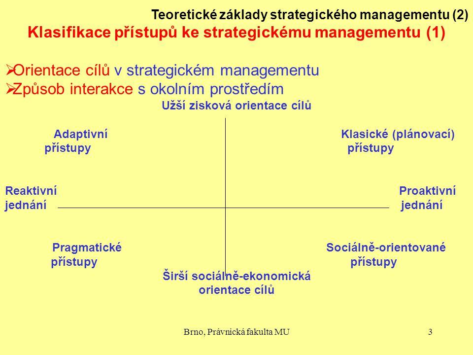 Brno, Právnická fakulta MU3 Teoretické základy strategického managementu (2) Klasifikace přístupů ke strategickému managementu (1)  Orientace cílů v