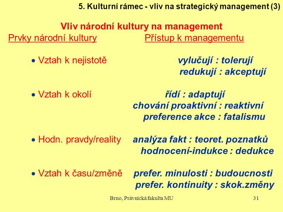 Brno, Právnická fakulta MU31 5. Kulturní rámec - vliv na strategický management (3) Vliv národní kultury na management Prvky národní kultury Přístup k
