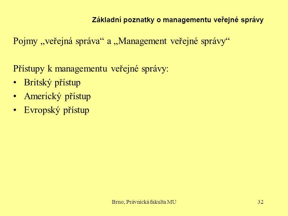 """Brno, Právnická fakulta MU32 Základní poznatky o managementu veřejné správy Pojmy """"veřejná správa"""" a """"Management veřejné správy"""" Přístupy k management"""