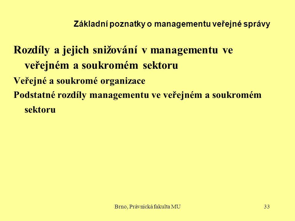 Brno, Právnická fakulta MU33 Základní poznatky o managementu veřejné správy Rozdíly a jejich snižování v managementu ve veřejném a soukromém sektoru V