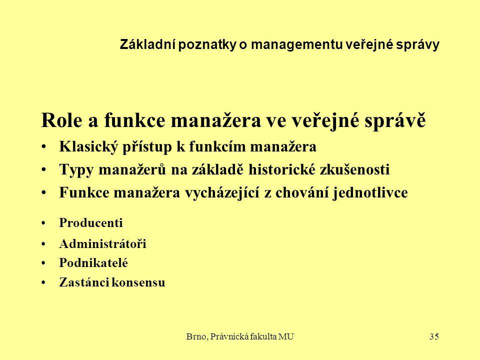 Brno, Právnická fakulta MU35 Základní poznatky o managementu veřejné správy Role a funkce manažera ve veřejné správě Klasický přístup k funkcím manaže