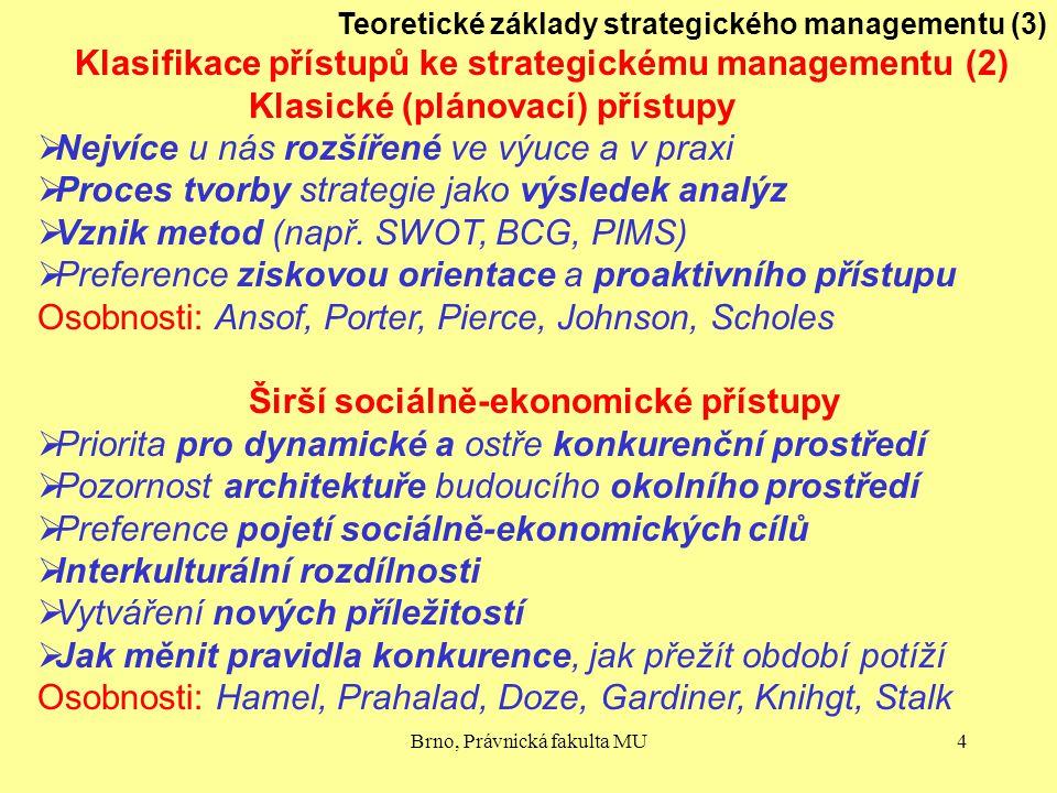 Brno, Právnická fakulta MU4 Teoretické základy strategického managementu (3) Klasifikace přístupů ke strategickému managementu (2) Klasické (plánovací