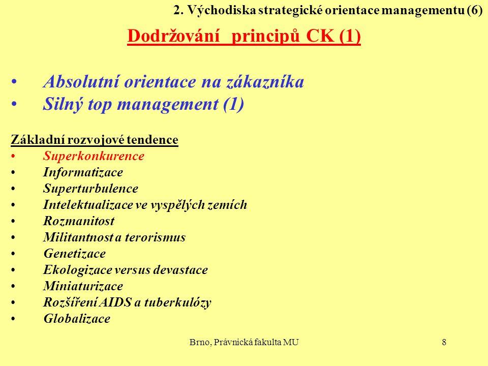 Brno, Právnická fakulta MU8 2. Východiska strategické orientace managementu (6) Dodržování principů CK (1) Absolutní orientace na zákazníka Silný top