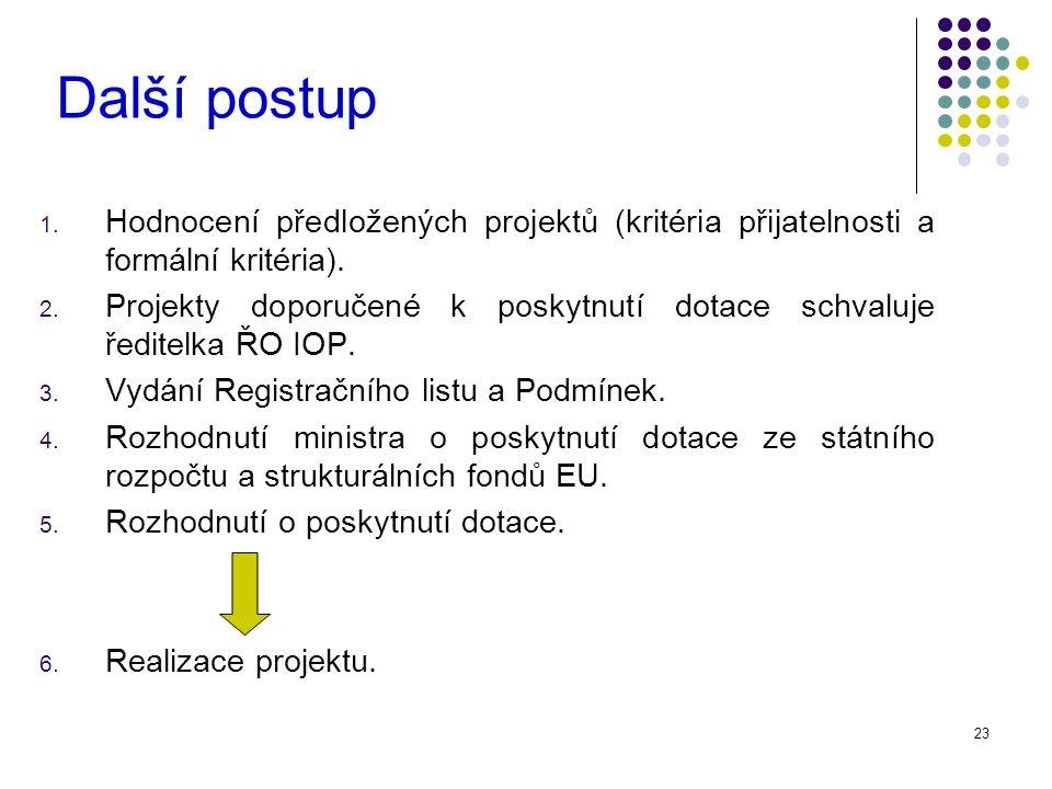 23 Další postup 1. Hodnocení předložených projektů (kritéria přijatelnosti a formální kritéria).