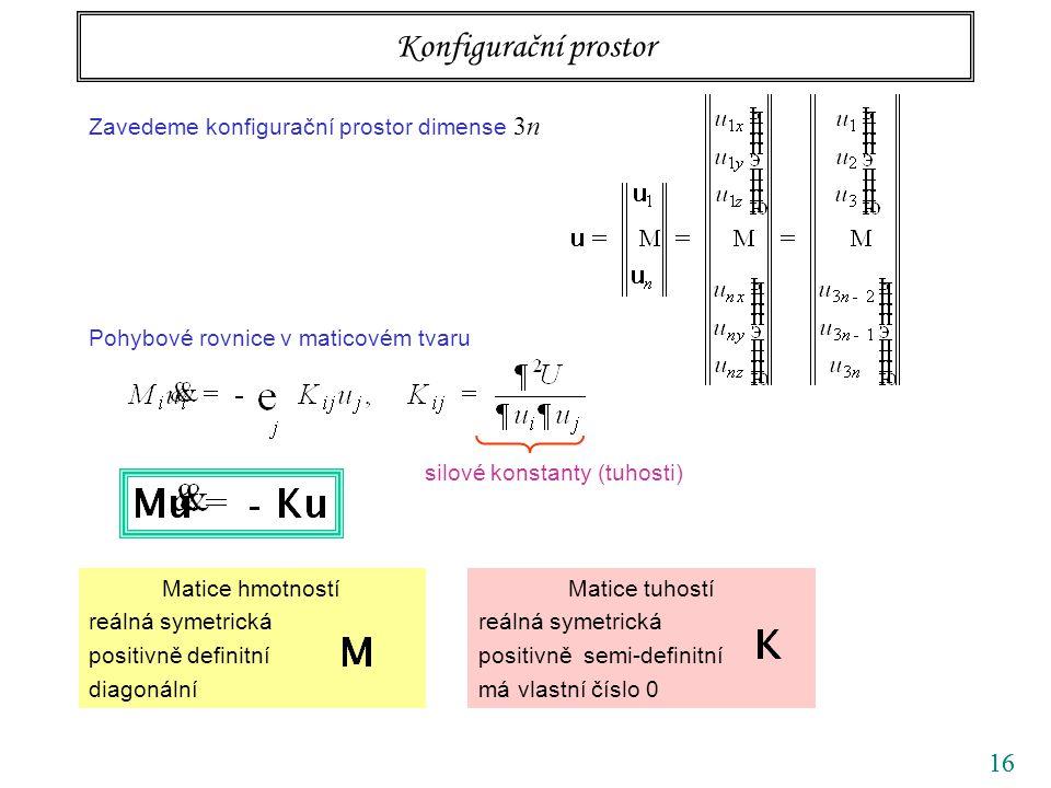 16 Konfigurační prostor silové konstanty (tuhosti) Zavedeme konfigurační prostor dimense 3n Pohybové rovnice v maticovém tvaru Matice hmotností reálná