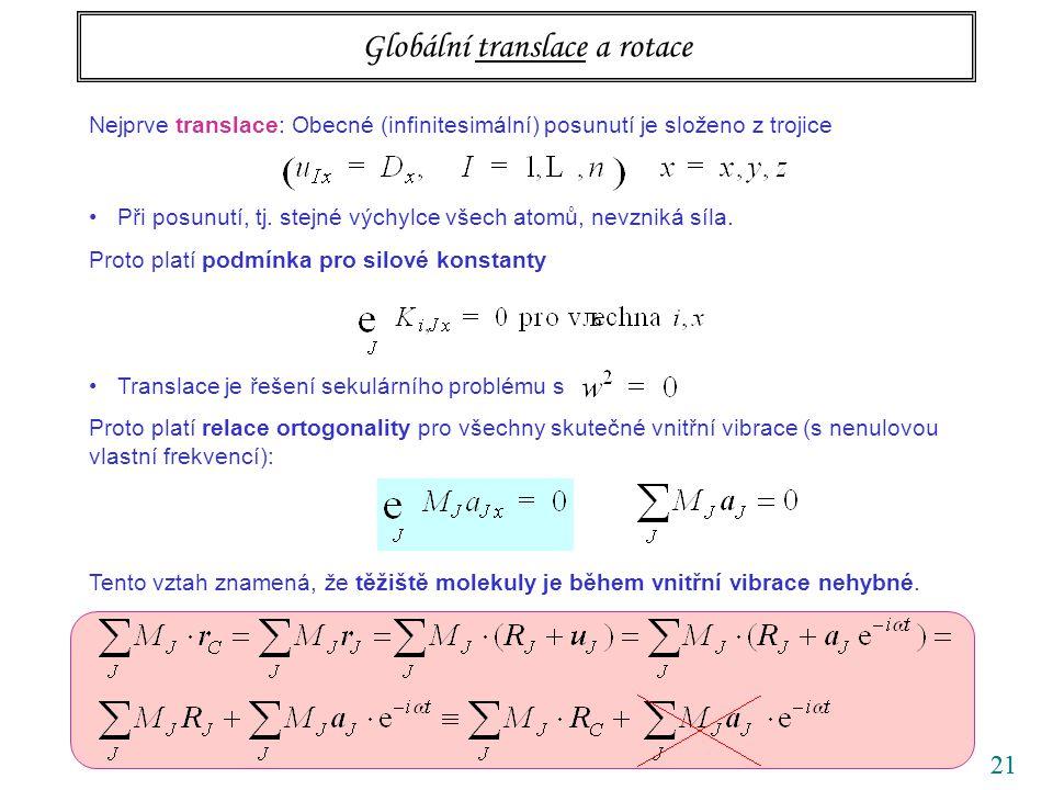 21 Globální translace a rotace Nejprve translace: Obecné (infinitesimální) posunutí je složeno z trojice Při posunutí, tj. stejné výchylce všech atomů