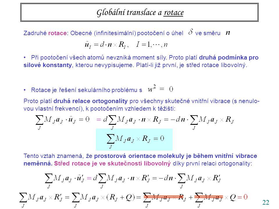 22 Globální translace a rotace Zadruhé rotace: Obecné (infinitesimální) pootočení o úhel ve směru Při pootočení všech atomů nevzniká moment síly. Prot