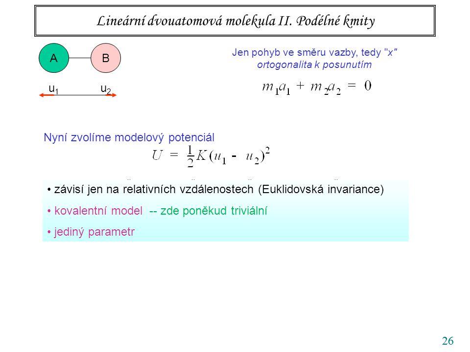 26 Nyní zvolíme modelový potenciál Nalezené normální kmity dosadíme do rovnice na vlastní čísla. Lineární dvouatomová molekula II. Podélné kmity závis