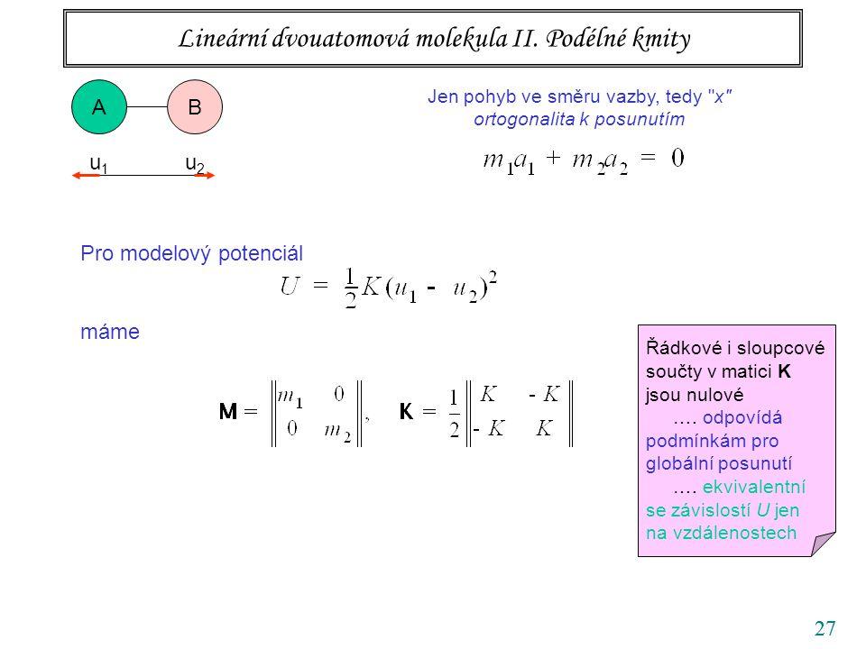 27 Pro modelový potenciál máme Lineární dvouatomová molekula II. Podélné kmity AB Jen pohyb ve směru vazby, tedy