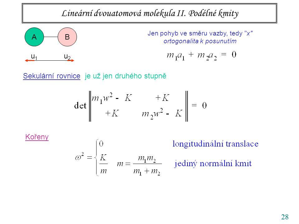 28 Lineární dvouatomová molekula II. Podélné kmity AB Jen pohyb ve směru vazby, tedy