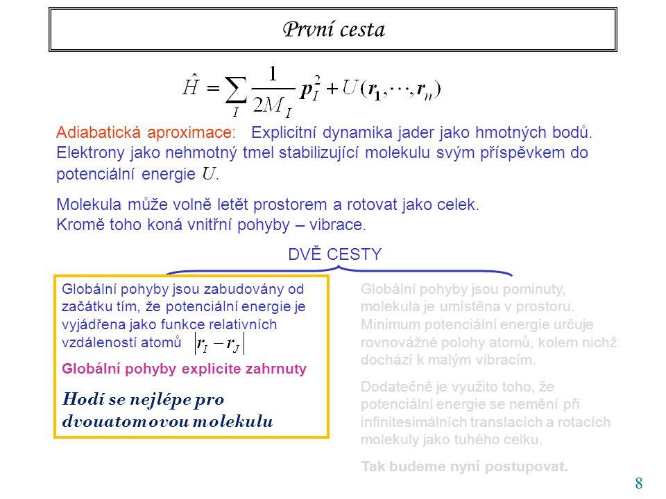 88 První cesta Adiabatická aproximace: Explicitní dynamika jader jako hmotných bodů. Elektrony jako nehmotný tmel stabilizující molekulu svým příspěvk