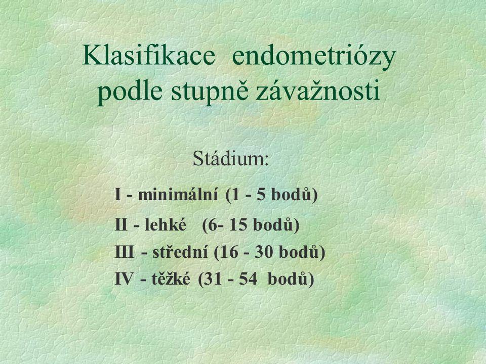 Klasifikace endometriózy podle stupně závažnosti Stádium: I - minimální (1 - 5 bodů) II - lehké (6- 15 bodů) III - střední (16 - 30 bodů) IV - těžké (31 - 54 bodů)