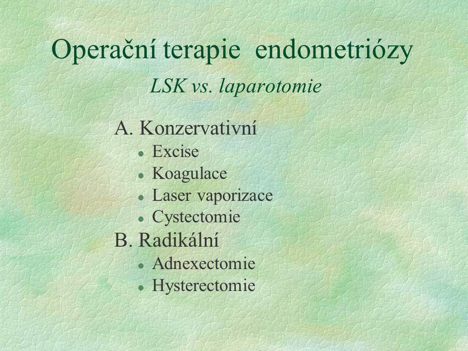 Operační terapie endometriózy LSK vs. laparotomie A. Konzervativní l Excise l Koagulace l Laser vaporizace l Cystectomie B. Radikální l Adnexectomie l
