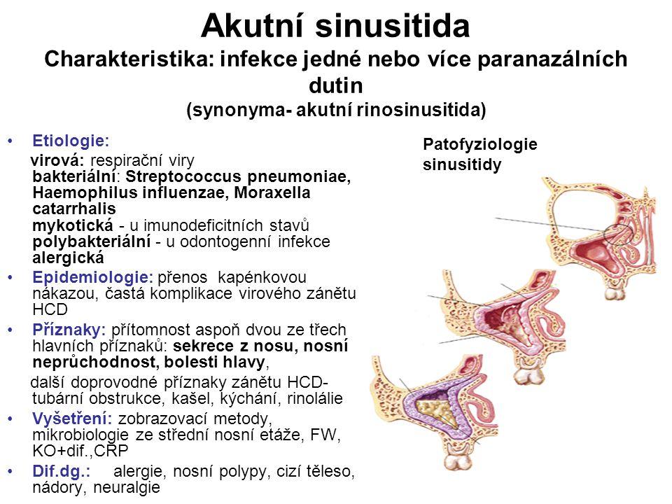 Akutní sinusitida Charakteristika: infekce jedné nebo více paranazálních dutin (synonyma- akutní rinosinusitida) Etiologie: virová: respirační viry ba