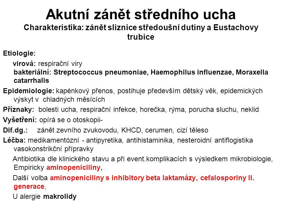 Akutní zánět středního ucha Charakteristika: zánět sliznice středoušní dutiny a Eustachovy trubice Etiologie: virová: respirační viry bakteriální: Str