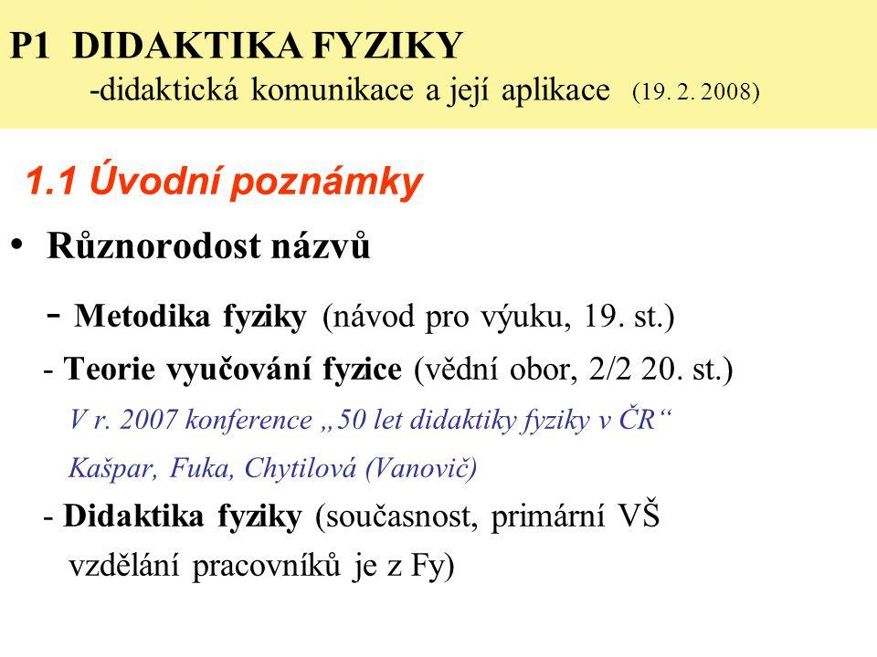 P1 DIDAKTIKA FYZIKY -didaktická komunikace a její aplikace (19. 2. 2008) 1.1 Úvodní poznámky Různorodost názvů - Metodika fyziky (návod pro výuku, 19.
