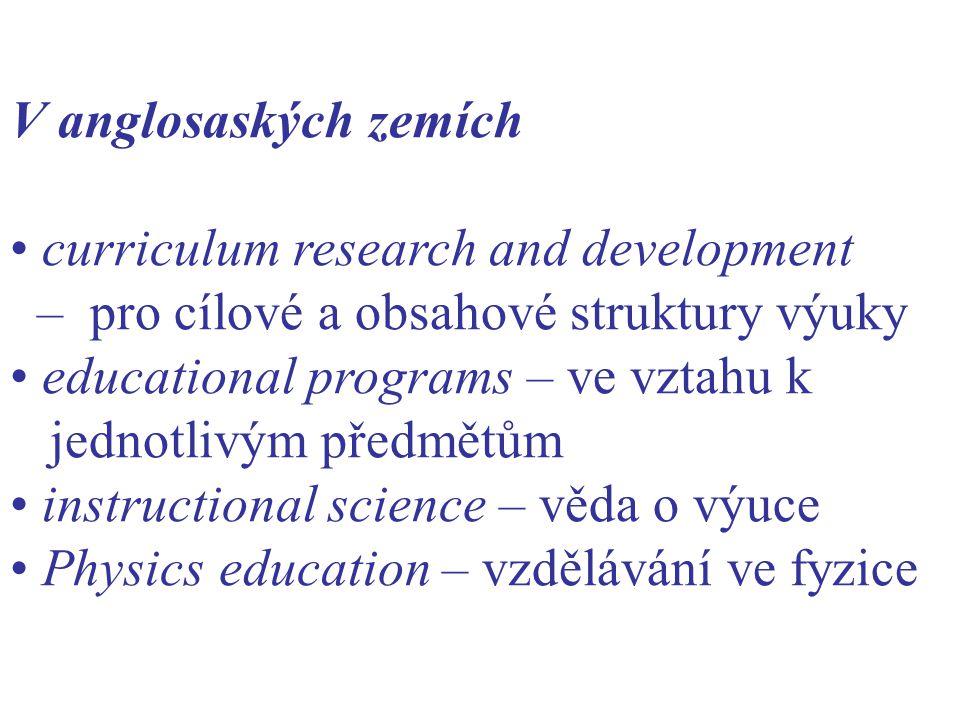 V anglosaských zemích curriculum research and development – pro cílové a obsahové struktury výuky educational programs – ve vztahu k jednotlivým předmětům instructional science – věda o výuce Physics education – vzdělávání ve fyzice