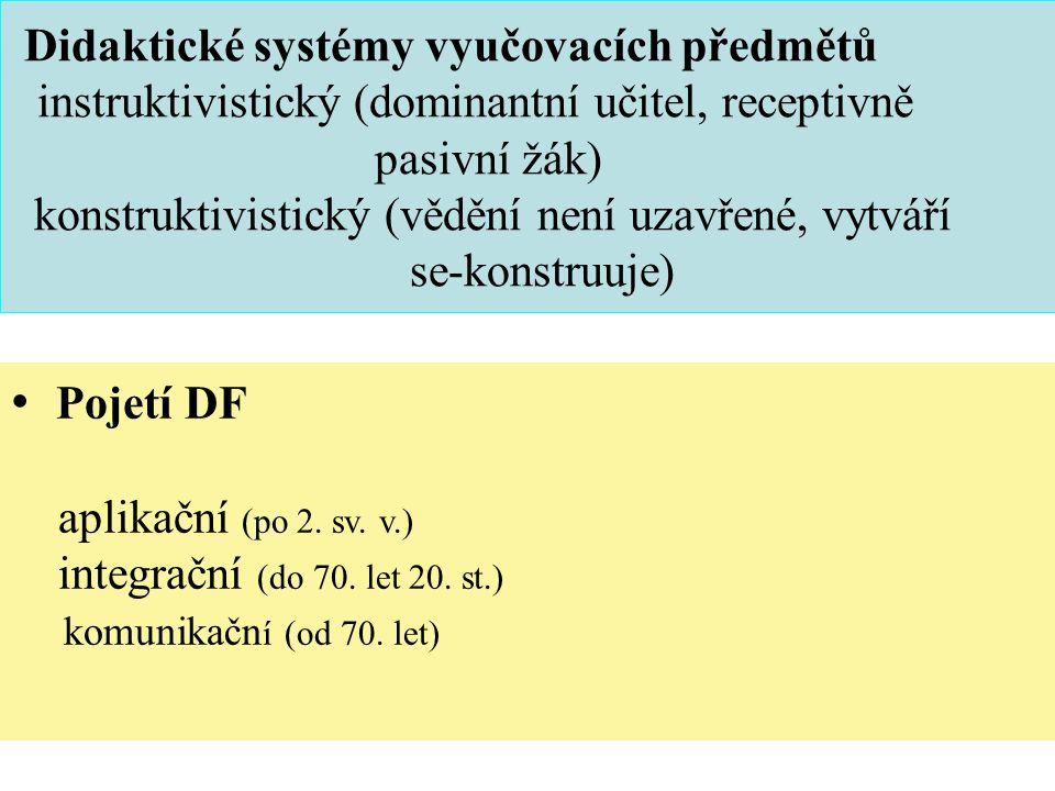 Didaktické systémy vyučovacích předmětů instruktivistický (dominantní učitel, receptivně pasivní žák) konstruktivistický (vědění není uzavřené, vytváří se-konstruuje) Pojetí DF aplikační (po 2.