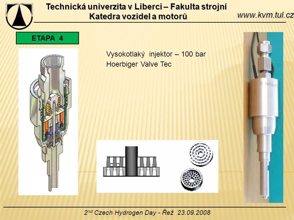 Technická univerzita v Liberci – Fakulta strojní Katedra vozidel a motorů 2 nd Czech Hydrogen Day - Řež 23.09.2008 www.kvm.tul.cz ETAPA 4 Vysokotlaký