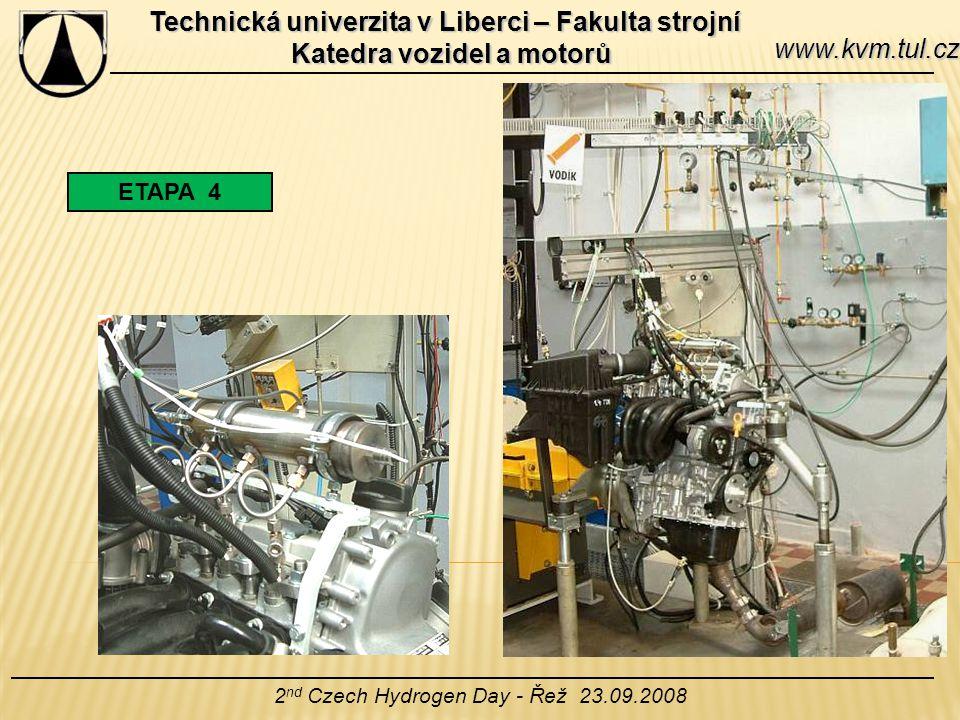 Technická univerzita v Liberci – Fakulta strojní Katedra vozidel a motorů 2 nd Czech Hydrogen Day - Řež 23.09.2008 www.kvm.tul.cz ETAPA 4
