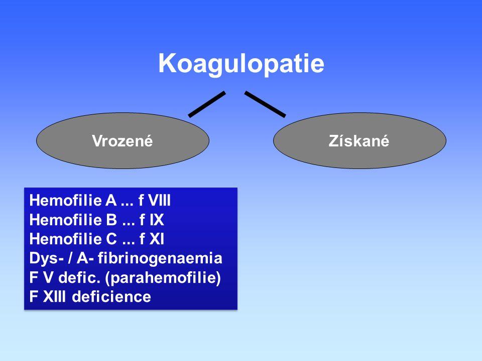 Koagulopatie ZískanéVrozené Hemofilie A...f VIII Hemofilie B...