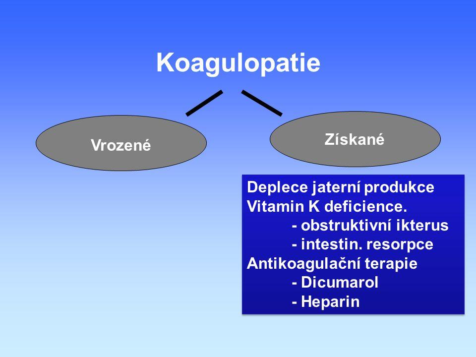 Koagulopatie Získané Vrozené Deplece jaterní produkce Vitamin K deficience.