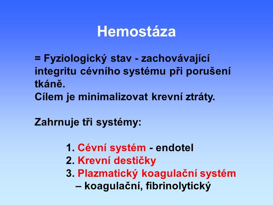 Hemostáza = Fyziologický stav - zachovávající integritu cévního systému při porušení tkáně.