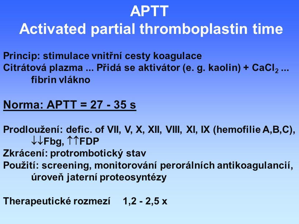 APTT Activated partial thromboplastin time Princip: stimulace vnitřní cesty koagulace Citrátová plazma...