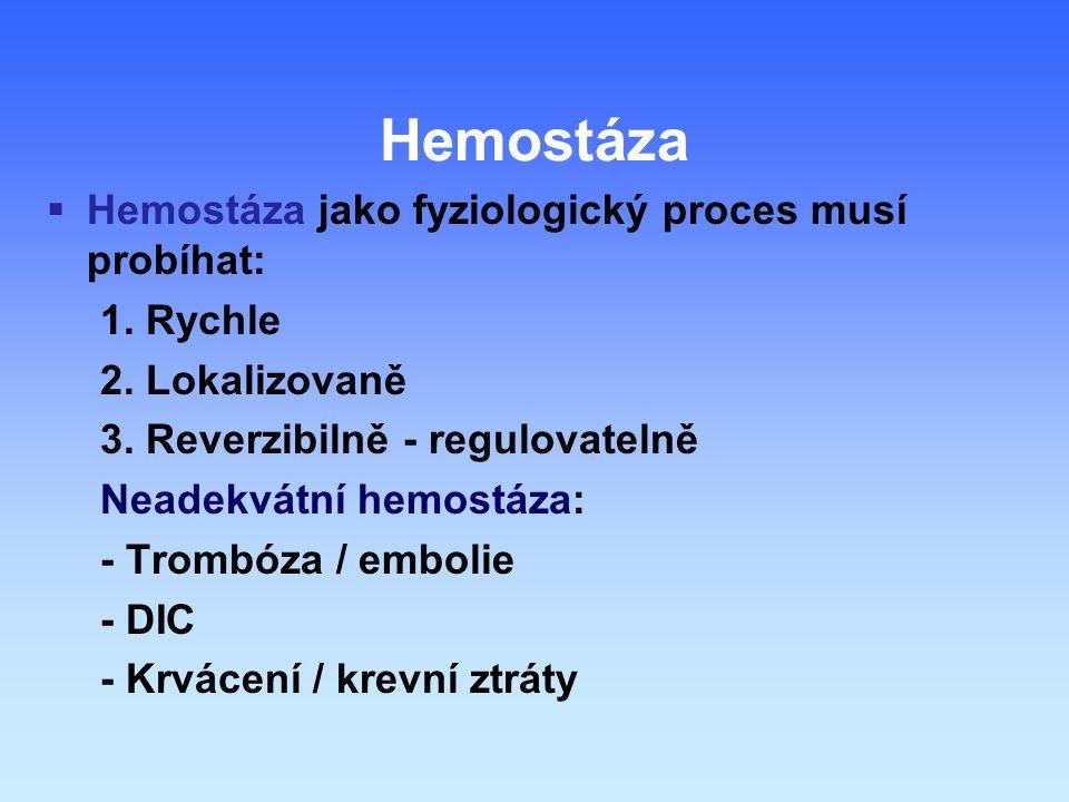  Hemostáza jako fyziologický proces musí probíhat: 1.