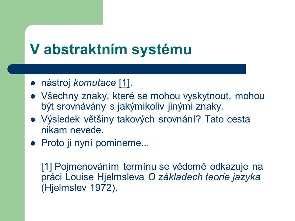 V abstraktním systému nástroj komutace [1].[1] Všechny znaky, které se mohou vyskytnout, mohou být srovnávány s jakýmikoliv jinými znaky.