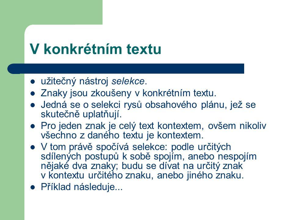 V konkrétním textu užitečný nástroj selekce.Znaky jsou zkoušeny v konkrétním textu.