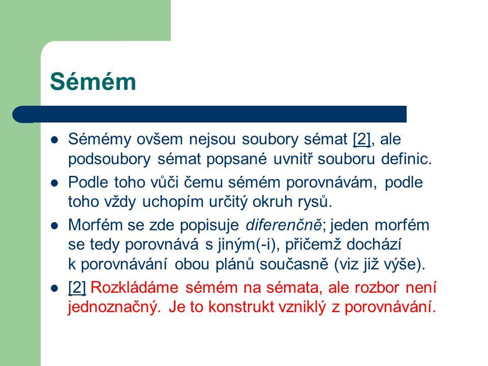 Sémém Sémémy ovšem nejsou soubory sémat [2], ale podsoubory sémat popsané uvnitř souboru definic.[2] Podle toho vůči čemu sémém porovnávám, podle toho vždy uchopím určitý okruh rysů.