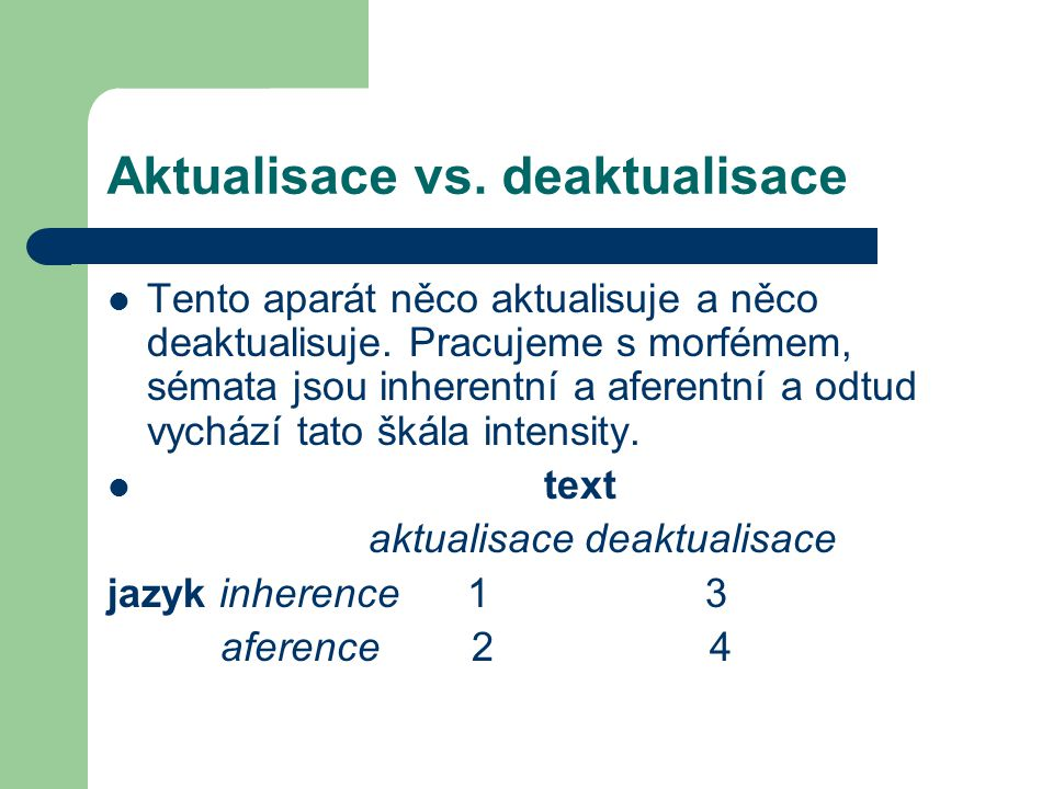 Aktualisace vs.deaktualisace Tento aparát něco aktualisuje a něco deaktualisuje.
