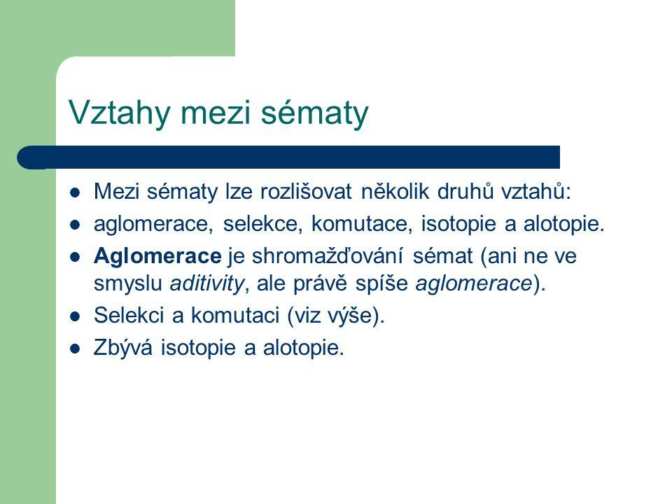 Vztahy mezi sématy Mezi sématy lze rozlišovat několik druhů vztahů: aglomerace, selekce, komutace, isotopie a alotopie.
