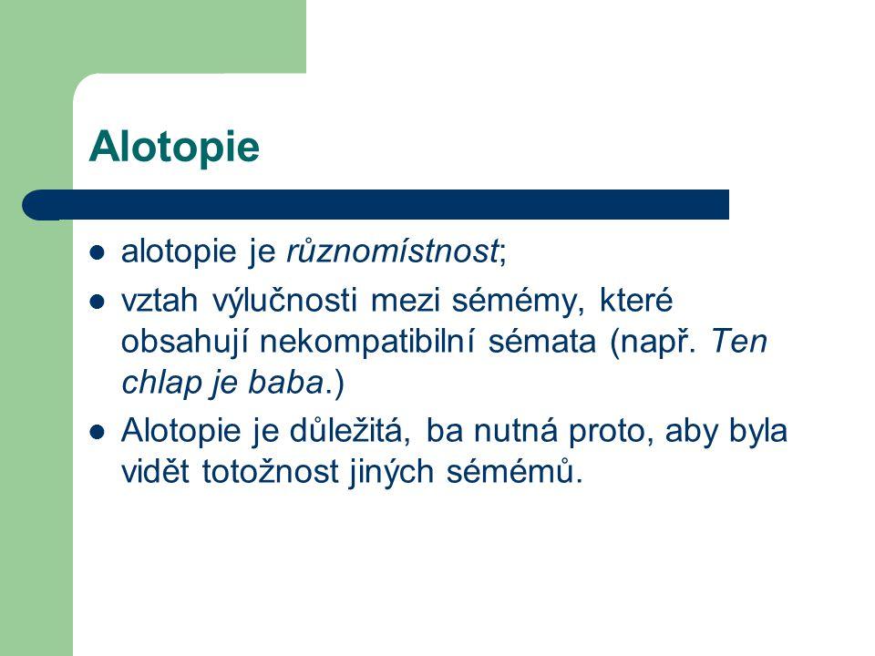 Alotopie alotopie je různomístnost; vztah výlučnosti mezi sémémy, které obsahují nekompatibilní sémata (např.