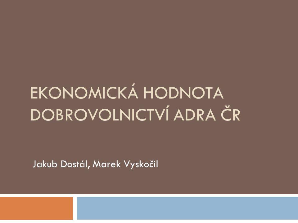 Výzkum  Cílem je odhadnout ekonomickou hodnotu práce vykonané dobrovolníky vzorové organizace ADRA ČR v letech 2011 až 2013  Za pomoci metody mzdy specialisty, srovnané s metodou obecné mzdy ČSÚ