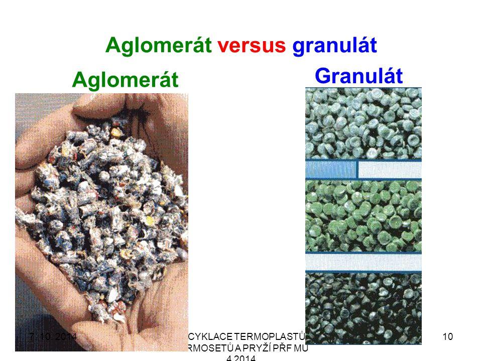 Aglomerát versus granulát RECYKLACE TERMOPLASTŮ, TERMOSETŮ A PRYŽÍ PŘF MU 4 2014 10 Aglomerát Granulát 7.