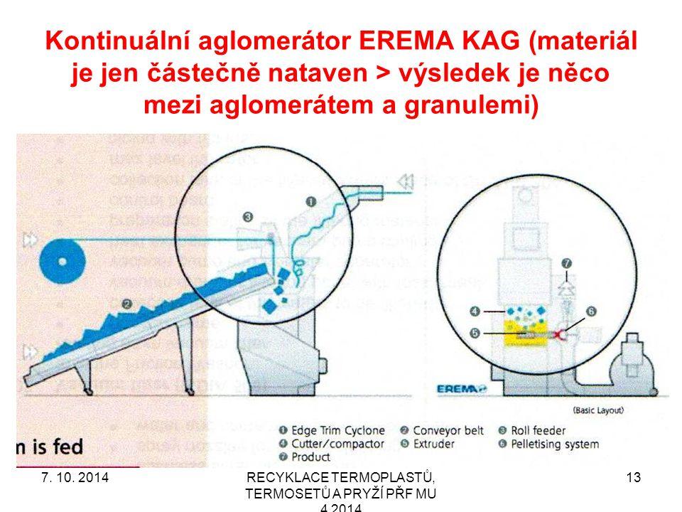 Kontinuální aglomerátor EREMA KAG (materiál je jen částečně nataven > výsledek je něco mezi aglomerátem a granulemi) RECYKLACE TERMOPLASTŮ, TERMOSETŮ A PRYŽÍ PŘF MU 4 2014 137.