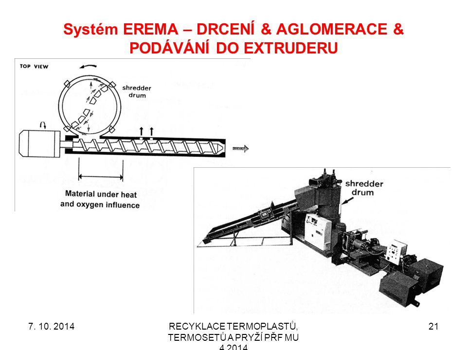 Systém EREMA – DRCENÍ & AGLOMERACE & PODÁVÁNÍ DO EXTRUDERU RECYKLACE TERMOPLASTŮ, TERMOSETŮ A PRYŽÍ PŘF MU 4 2014 217.